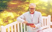 technology, senior people, and lifestyle, distance learning concept - old man with tablet pc compute poster