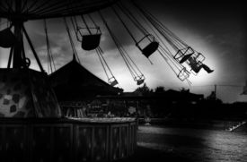 foto of amusement park rides  - Carousel in analogue black and white photography - JPG