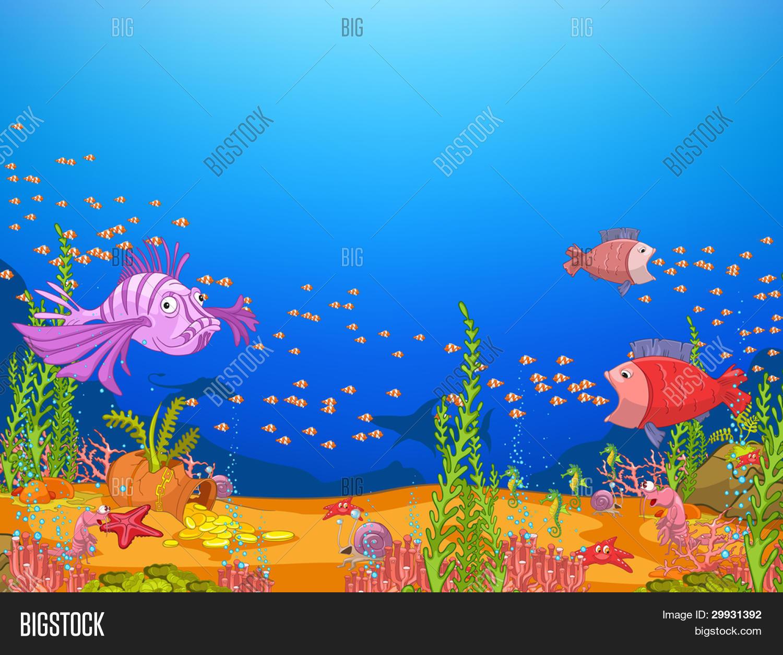 Ocean Underwater World Cartoon. Vector & Photo