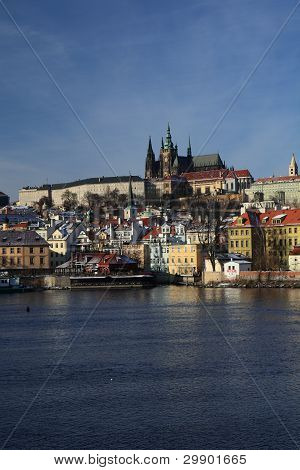 A View On The Prague Castle Over The River Vltava