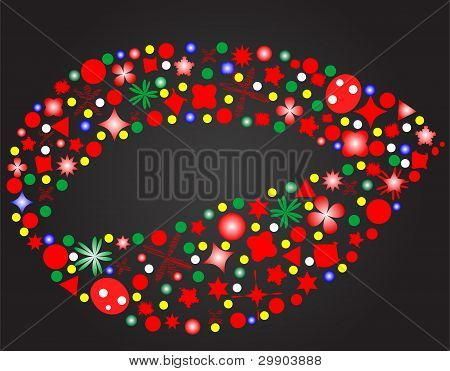 Lips Of Flowers Isolated On Black Background Vector