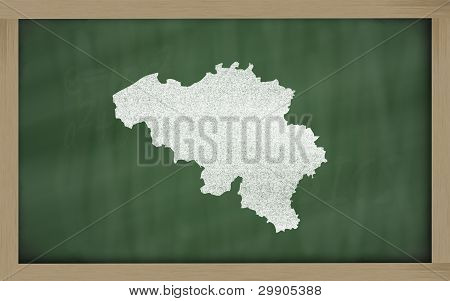Outline Map Of Belgium On Blackboard