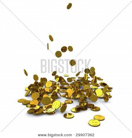 Falling dollar gold coins