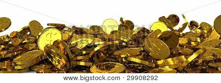 Falling gold dollar coins