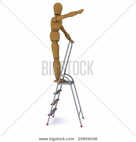 The wooden man rose to the top of a stepladder and hand indicates the direction of motion