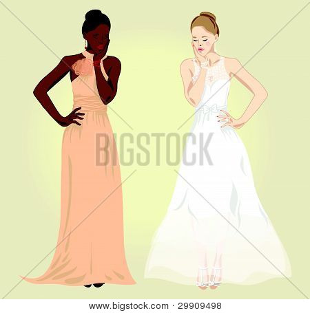 women  in evening dresses