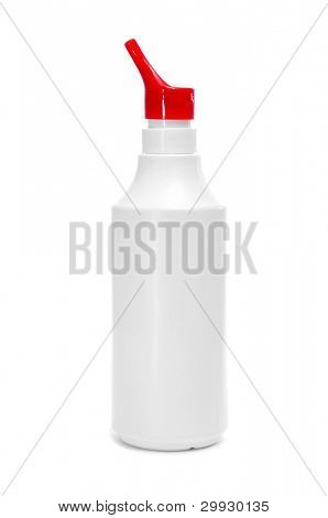 bottle with funnel for medical purposes on a white background