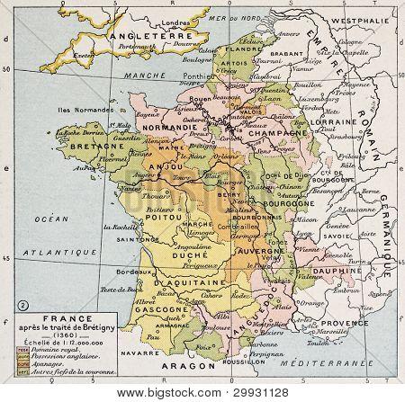 Mapa político de Francia en 1360. Por Paul Vidal de Lablache, Atlas Classique, Librerie Colin, París,