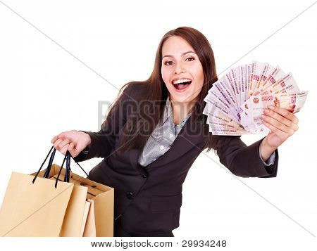 Woman with  money (Russian rouble) and shopping bag. Isolated.