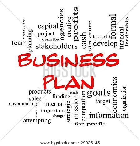Red Caps Business Plan Word Cloud Concept