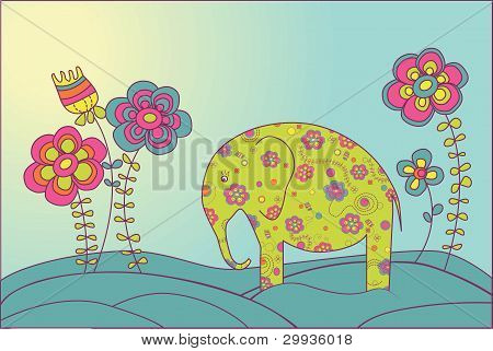 The elephant and Flowers.