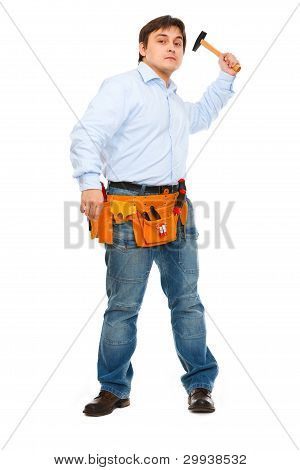 Construction Worker Brandishing Hammer