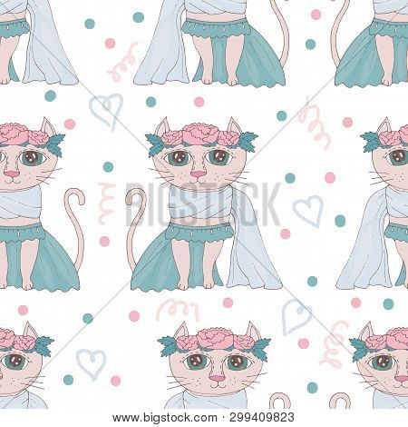 poster of Seamless Pattern With Sweet Cartoon Cats With Flower On The Head