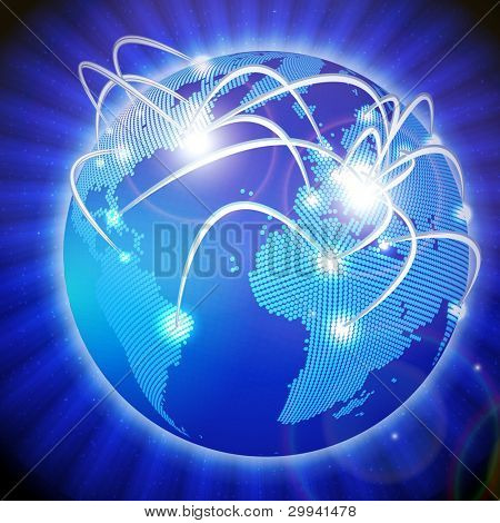 Vector Illustration of the modern earth globe with communication's lines