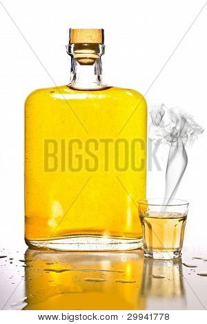 Tequila Bottle And Shot Glass Wth Smoke