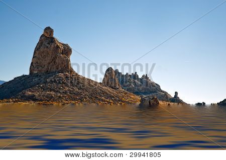 Trona Pinnacle Over Water