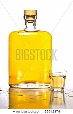 Tequila Bottle And Shot Glass