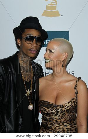 LOS ANGELES - FEB 11: Wiz Khalifa; Amber Rose arrives at the Pre-Grammy Party hosted by Clive Davis at the Beverly Hilton Hotel on February 11, 2012 in Beverly Hills, CA