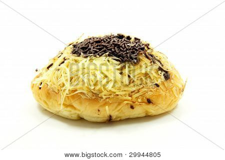 bread with a sprinkling of chocolate and cheese