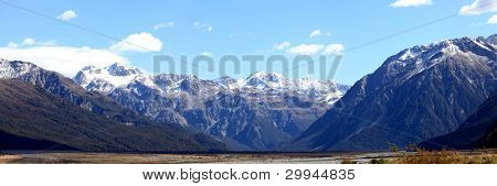 Panorama southern alpine alps mountain range Arthur's pass National Park New Zealand