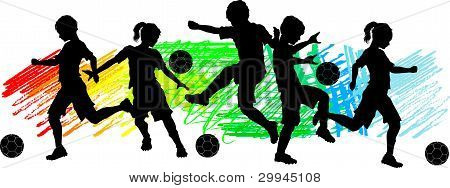 Kids Boys And Girls Soccer Silhouettes