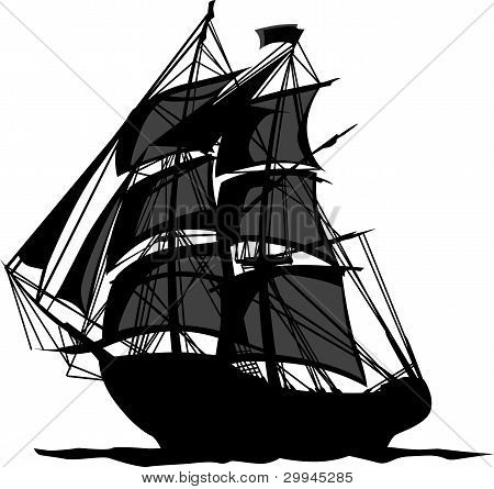 Pirate Ship With Shadows In Sails Graphic Vector Illustration