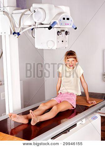 Little girl in radiologist hospital.