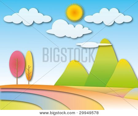 Big mountain with sunny cloudy sky landscape.