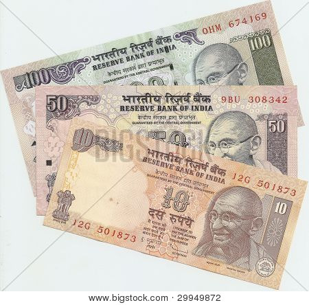 Indian banknotes - 10, 50 and 100 Indian rupees, the sample in 2010, the front side.