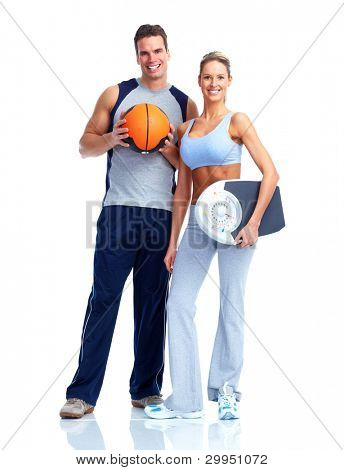 Happy Fitness-Paar. Isoliert auf weißem Hintergrund.