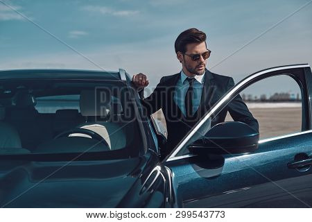 poster of Luxury Style. Handsome Young Businessman Entering His Car While Standing Outdoors