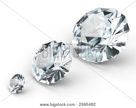 Three Different Diamonds On White Background