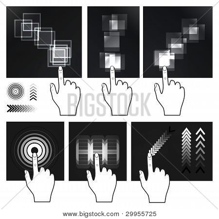 Touch screen gesture, interface