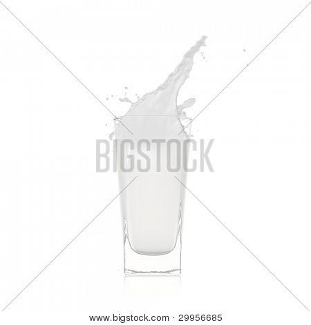 Glass with milk splash over white