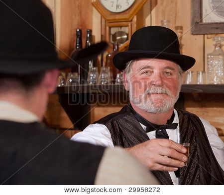 Happy Western Saloon Bartender