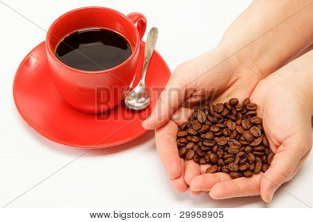 Heart In Hand Made ??from Coffee Beans Around A Cup Of Coffee.