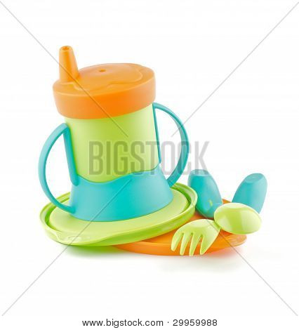 Multi Colored Baby Bottle and Baby utensil