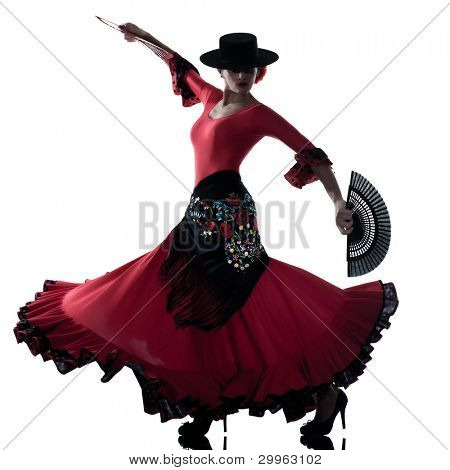 eine Frau Gipsy Flamenco tanzen Tänzer auf weißem Hintergrund Studio isoliert