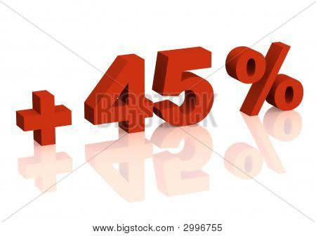 Red 3D Inscription - Plus Of Forty Five Percent