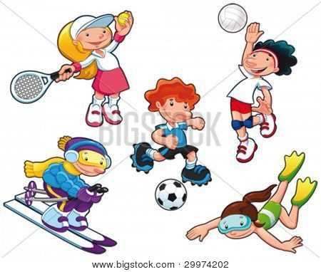 Sport characters. Cartoon vector isolated boys and girls.