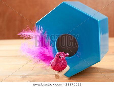 bird in blue nest house polygonal shape over wood
