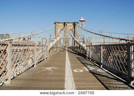 Bike And Pedestrian Lanes On The Brooklyn Bridge