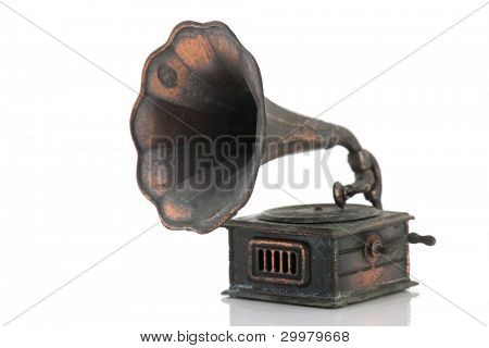 Old antique gramophone isolated over white background