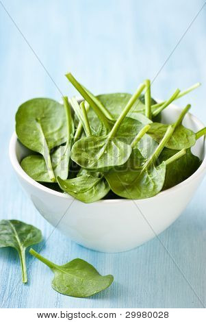 Fresh baby spinach in a small bowl