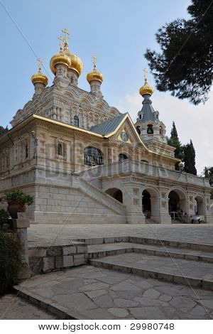The great city of Jerusalem. Church of St. Mary Magdalene. The magnificent church of the famous Jerusalem stone, surmounted by golden domes