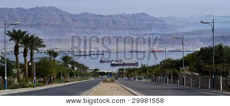 Local street running  to the Gulf of Aqaba