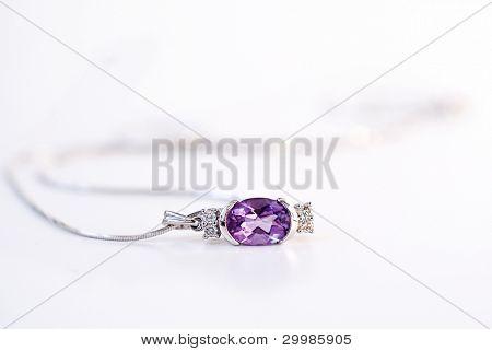 Diamond pendant on a white background