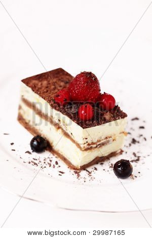 Tiramisu on a white plate
