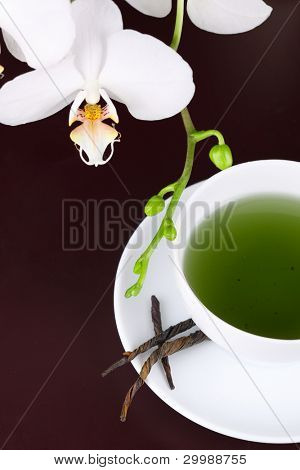 cup of green tea with white orchid- Tea Time