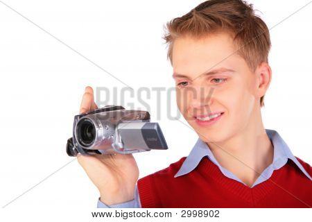 Menino com câmera Hdv